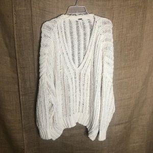 Free People Open Knit V-Neck Sweater Sz M/L